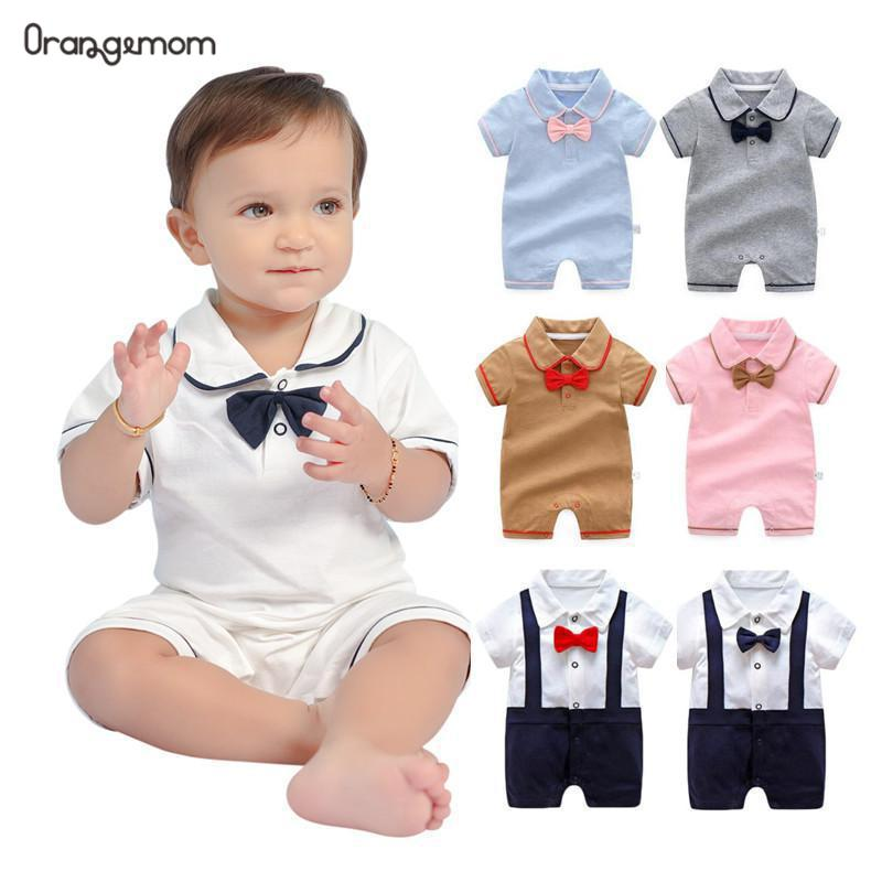 Orangemom official store New born baby girl jumpsuit infant birthday party wedding dresses gentleman Short romper Boy Clothes