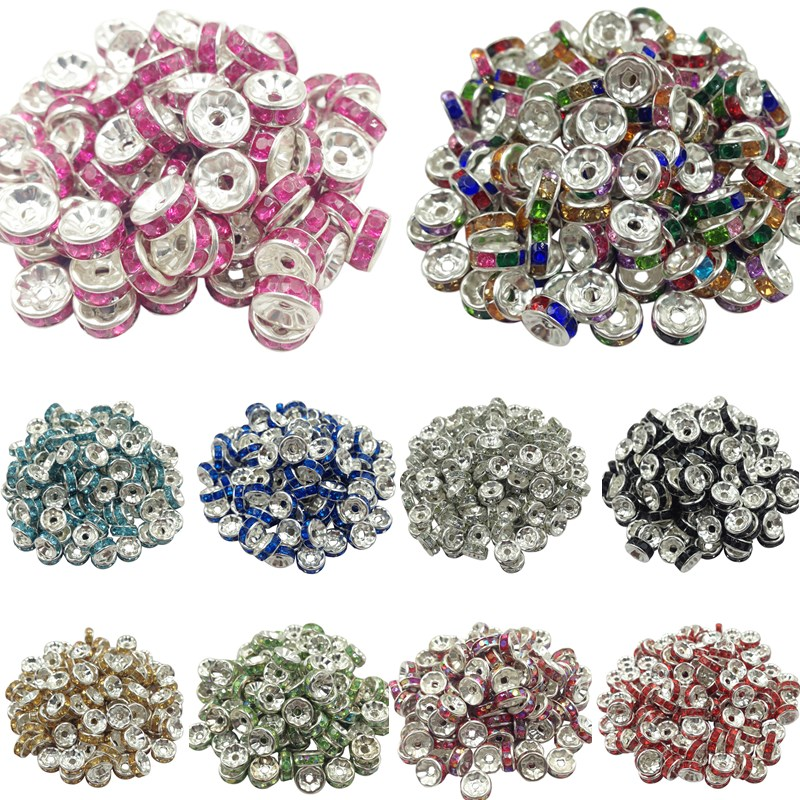 50pcs 8mm DIY Siver Plated Round Acrylic Crystal Spacer Loose Beads For Necklace Bracelet Metal Beads Charms Jewelry Making
