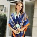Clássico lenço de seda da marca mulheres 2016 chegada nova primavera moda Pashmina xale 130 cm praça Handkerchief Real lenços de seda Twill