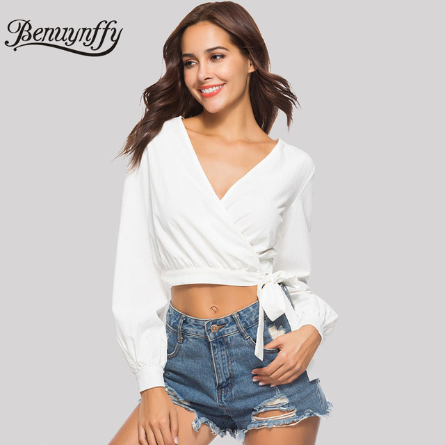 Benuynffy White V-Neck Bow Tie Wrap Blouses Women Sexy Top 2018 Autumn New  Fashion ac0b97149
