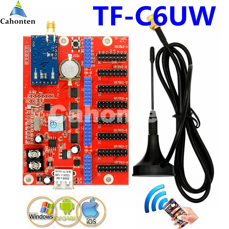 Free ship TF-C6UW WIFI+USB communication display LED control card 2048*64,1024*128dots single/dual color P13.33,p10 controller diy led display kit 1 pcs jn power supply dip outdoor rg color led display p10 1 pcs led control card 1 pcs controller
