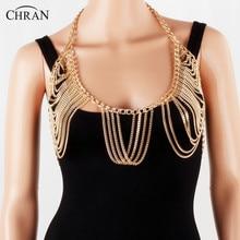 Chran New Luxury Fashion Stunning Sexy Silver Gold Tone Beach Chain Bra Slave Wear Harness Necklace Tassel Waist Jewelry
