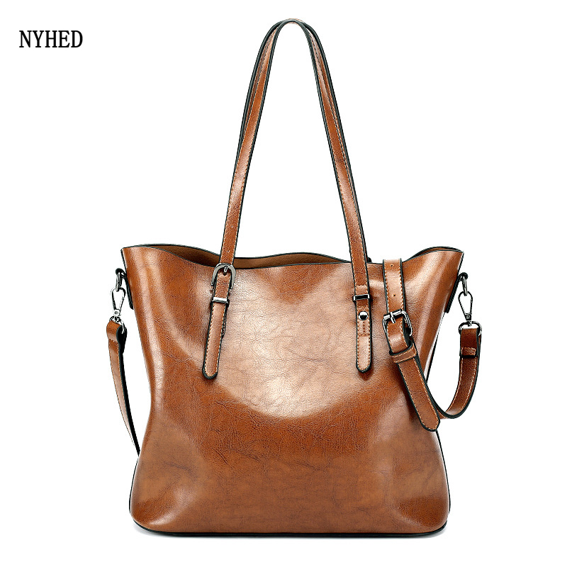 Vintage Women Bag Oil Wax Womens Leather Handbags Luxury Lady Hand Bags Women messenger bag Big Tote Sac Bolsos Mujer