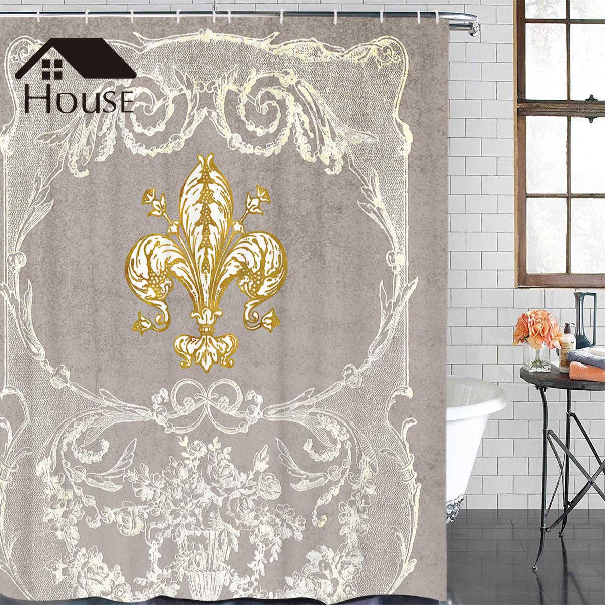 multi size shower curtain fleur de lis fabric bath curtain waterproof bathroom curtains washable 12 hooks