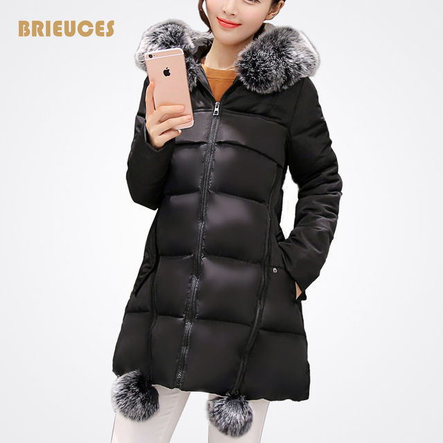 2016 plus size winter wadded jacket women large fur collar Hooded down cotton-padded jacket parka plus size winter jacket women