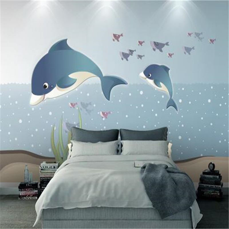 Mediterranean Style 3D Wallpapers Creative Non-Woven Wall Paper Marine Whale Hand Painted Wallpapers for Children Room