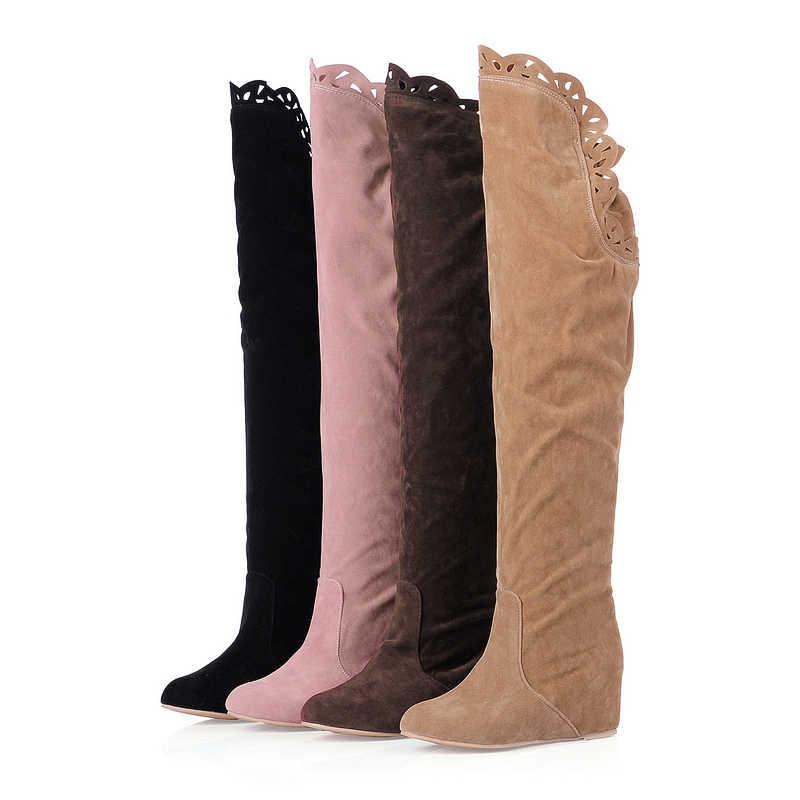 KARINLUNA büyük boy 34-43 moda platformu tatlı yüksek topuklu parti kış ayakkabı kadınlar diz çizmeler üzerinde kadın ayakkabı