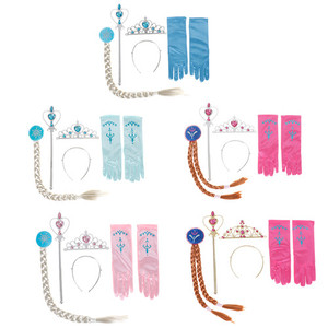 4Pcs/set Elsa Anna Cosplay crown magic wand braid gloves Magic Wand + Rhinestone Hair Crown + Glove Set Girl 5 Styles(China)