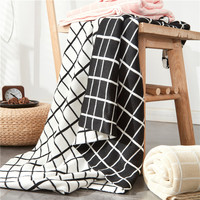 Black and white grid blanket 100%cotton kintted plaid blandets throw sofa plane adult knee cover blankets 120*180cm home textile