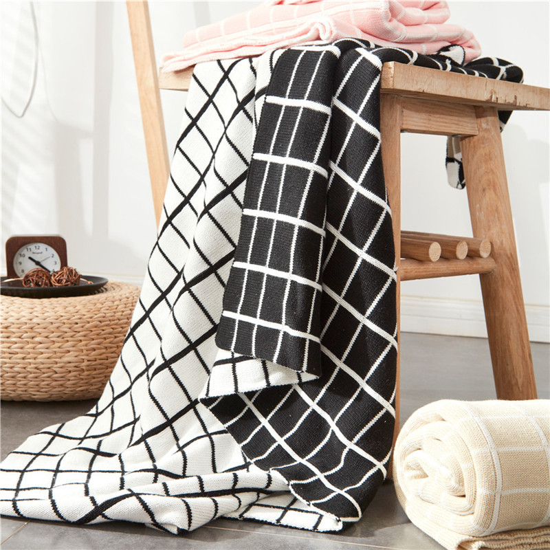 Groovy Us 31 31 47 Off Black And White Grid Blanket 100 Cotton Kintted Plaid Blandets Throw Sofa Plane Adult Knee Cover Blankets 120 180Cm Home Textile In Gmtry Best Dining Table And Chair Ideas Images Gmtryco