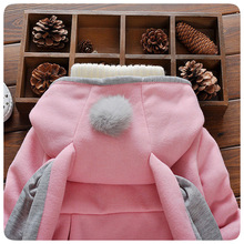 Baby Girl Winter Clothes Toddler Coat Hooded Jacket Cartoon Rabbit Ears Long Sleeve Girls Jackets Autumn Kids Clothing 2017