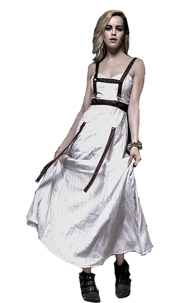 Punk Steampunk White Jet Printing Strap Dress Deep V-neck Off Shoulder Party Backless Sexy Dress