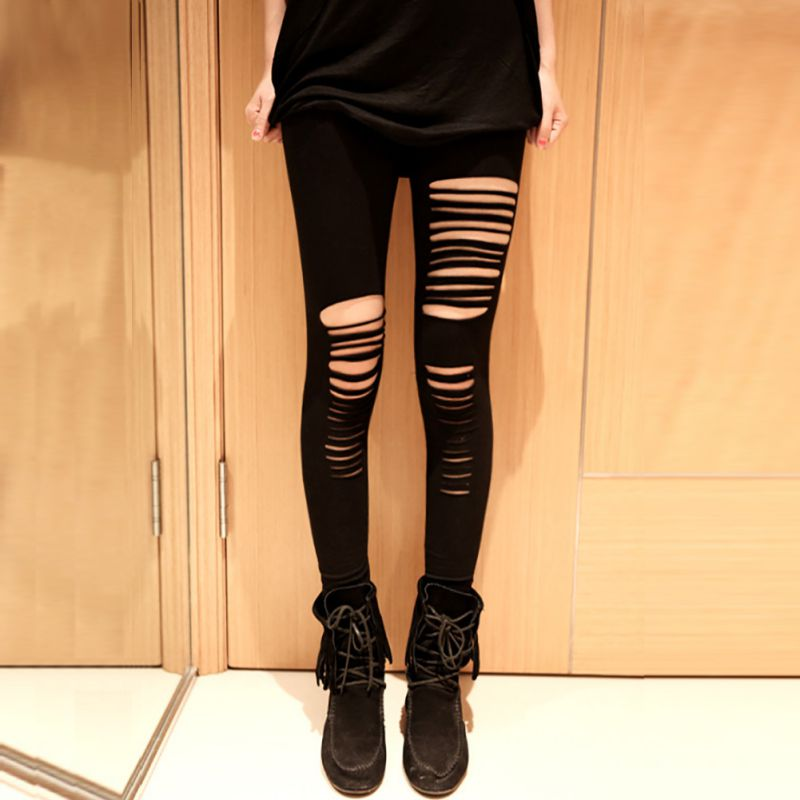 b52a9bb381e868 Detail Feedback Questions about Women Irregular Cut Trousers Girls Skinny  Hole Leggings Sexy Stretchy Slim Pants Hot Selling H7 on Aliexpress.com |  alibaba ...