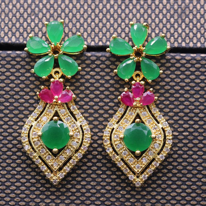 JY 2017 Fashion Earring Gold Color Red & Green Zircon Stud Earring For Ladies Luxury Gift Party цены