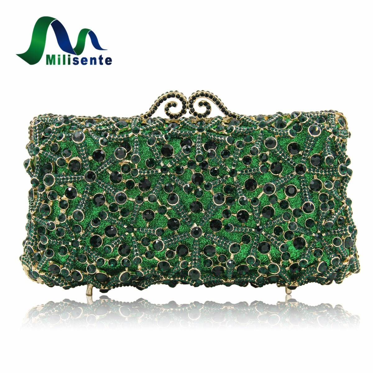 Milisente Fashion Flower Clutch Bags Full Crystal Clutches Women Silver Party Purse Ladies Wedding Bag With Long Chain free shipping a15 36 sky blue color fashion top crystal stones ring clutches bags for ladies nice party bag