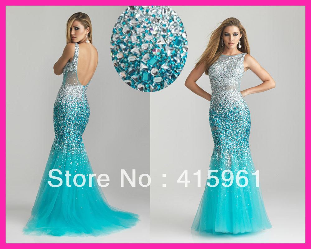 2018 vestido de noiva robe de mariee Turquoise Crystal Mermaid Tulle sexy backless Evening Dresses party prom Gowns in Evening Dresses from Weddings Events