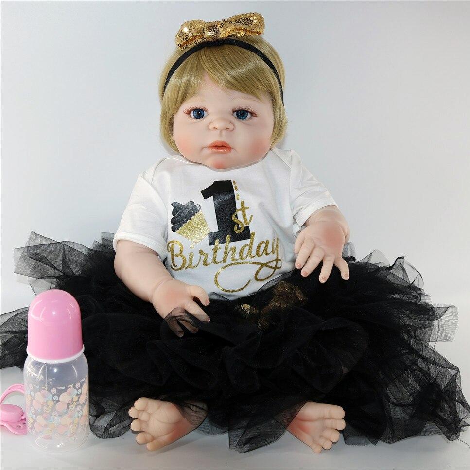 NPK 23 full body silicone reborn baby girl dolls for child gift juguetes fashion bebe com