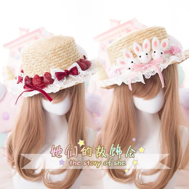 98653073cd03f Princess sweet lolita hat craft straw hat Ceiling topi Summer super lovely  rabbit strawberry sun hand-made lolita hat GSH063