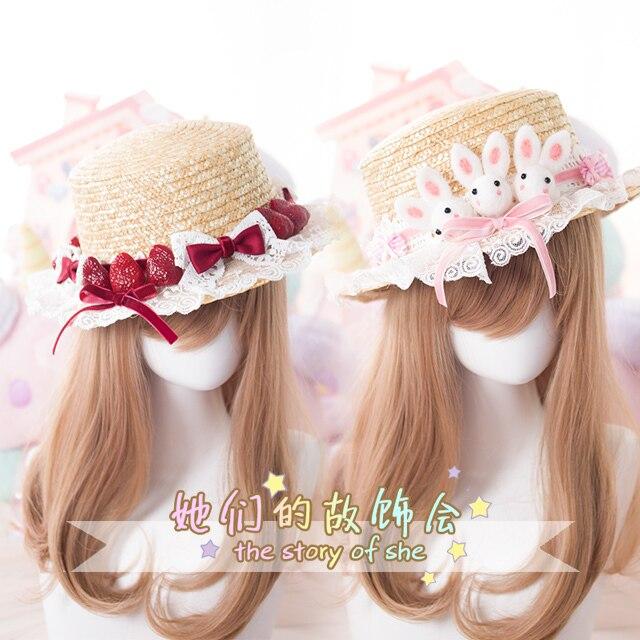 Princess sweet lolita hat craft straw hat Ceiling topi Summer super lovely rabbit strawberry sun hand-made lolita hat GSH063