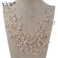 YYW Wedding Bridal Jewelry Coffee Pink Purple White Baroque Natural Freshwater Pearl Pendant Necklace Tassel Choker Necklace