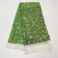 Wholesale 5yard Glitter Embroidery Sequin Fabric Green Gold Mesh Sequin Lace Fabric For Dress Backdrop Wedding