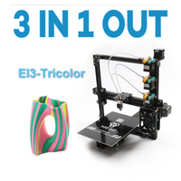 HE3D New upgrade EI3 tricolor DIY 3D printer kits, 3 in 1 out extruder ,large printing size 200*280*200mm