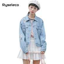 Ryseleco 2018 Fashion Turn-Down Collar Long Sleeve Denim Jacket Loose Sweet Floral Embroidery Students Jeans Coats Basic Outwear