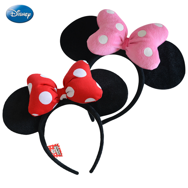 Genuine Disney Mickey Minnie Mouse Headdress Head Minnie Ears Girls Hair Bands Princess Head Hoop Plush Toys Bag Keychain 12pcs hair accessories mickey minnie mouse ears solid black sequins headbands headwear for boy girl birthday party celebration