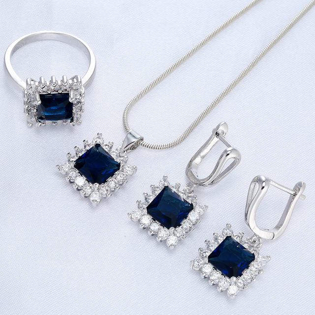 Silver White Blue Zircon Jewelry Set