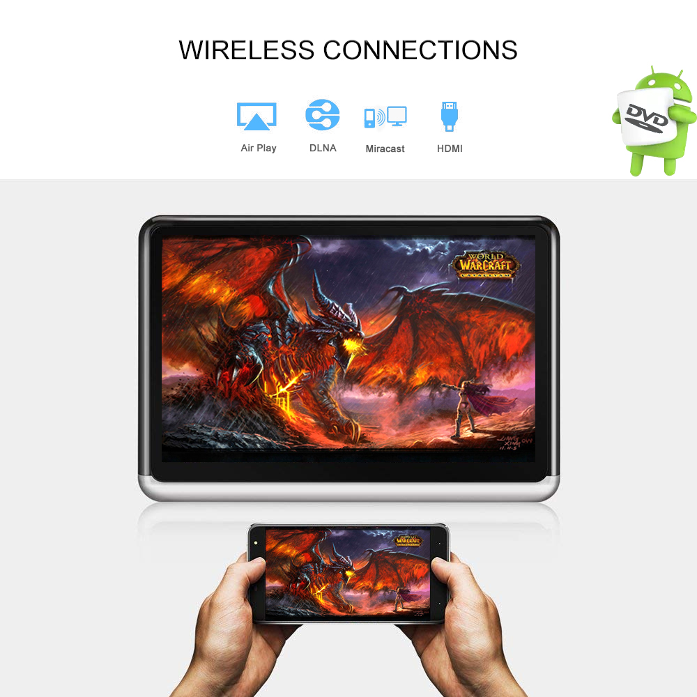 YAZH 10 2 inch Android 6 0 Car 1 headrest monitor 4500mAh battery IPS screen 1366