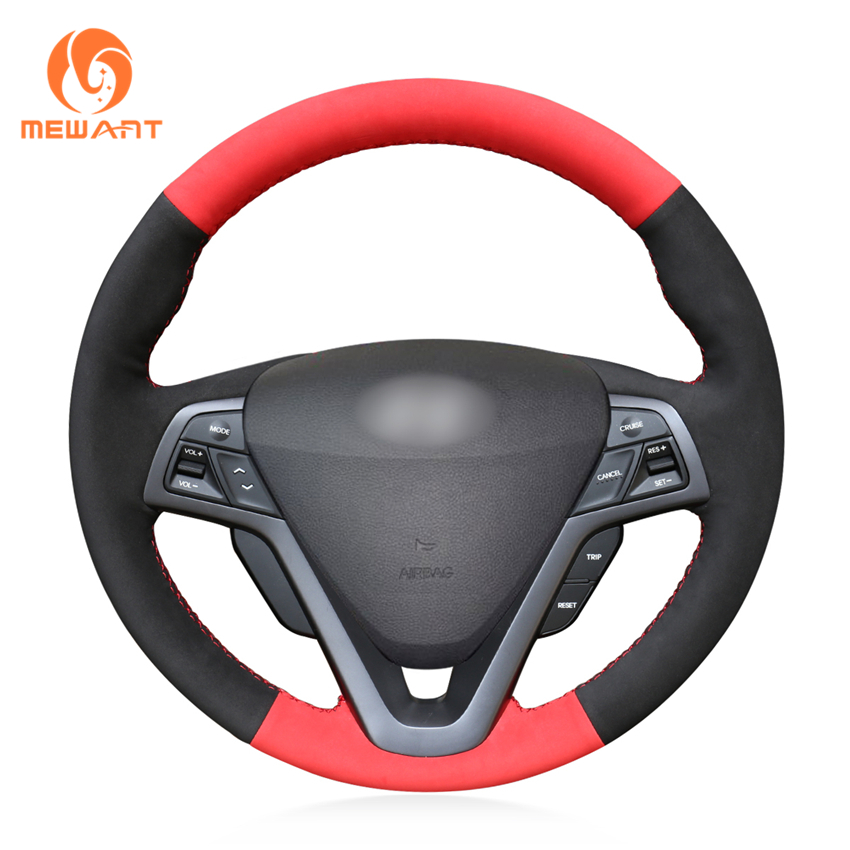 MEWANT Black Suede Red Suede Car Steering Wheel Cover for Hyundai Veloster 2011 2012 2013 2014 2015 2016 2017 mewant wine red leather black suede car steering wheel cover for chevrolet cruze 2009 2014 aveo 2011 2014 orlando 2010 2015