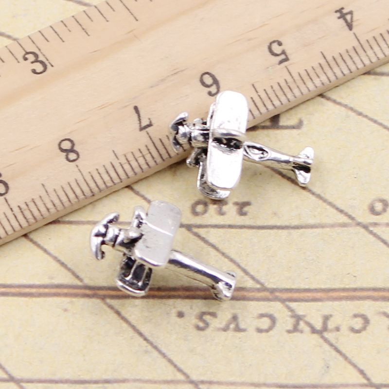 10pcs Charms Airplane Plane Biplane 19x9x13mm Tibetan Silver Color Pendants Antique Jewelry Making DIY Handmade Craft image