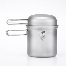 Keith 3Pcs Titanium Bowl & Pot Set With Folding Handle