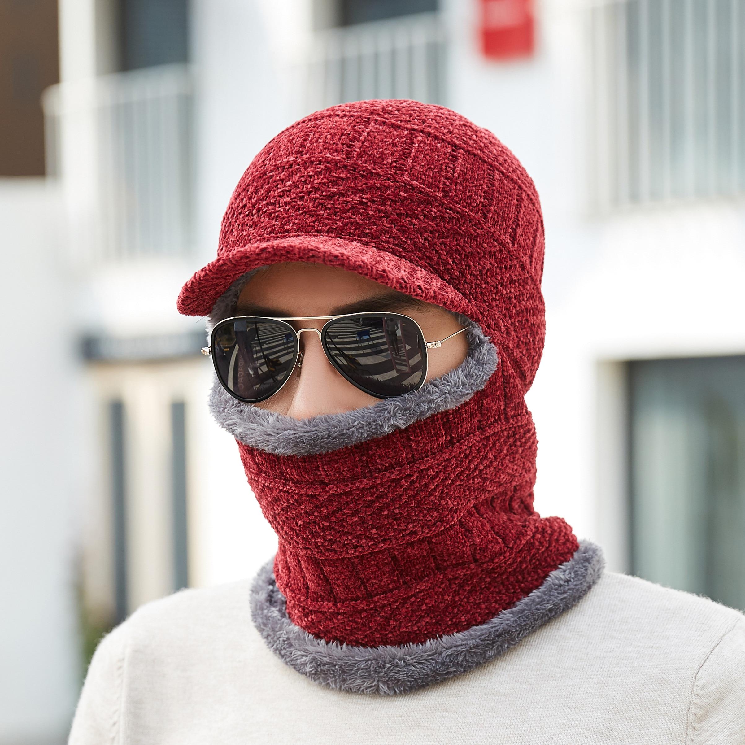 08510a5e059bb Skullies Beanies Winter Knitted Hat Men Beanie Scarf Winter Hats For ...