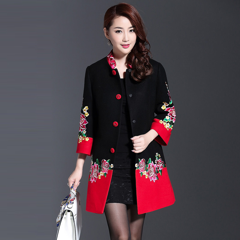 Plus Size 4XL Cashmere Flower Embroidery Women 2016 Winter Long Coats Black And Red Patchwork Single