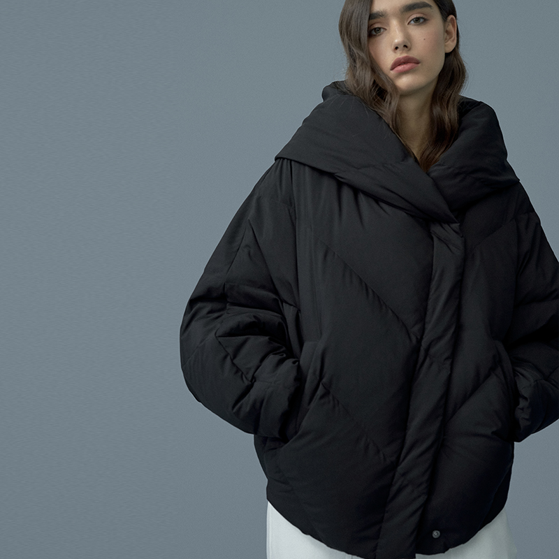 2019 New Arrival Aporia.king Short Solid Covered Button Bat Sleeved Thick Full White Duck   Down     Coat