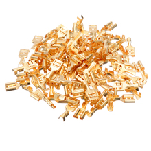 цена на 100pcs Flat Receptacles 6.3 mm Cable Lugs Spade Terminal Connector 0.5-1.5mm Uninsulated Brass Female Terminal