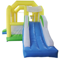 YARD Nylon Inflatable Combo Bouncer Moonwalk with Double Slides Inflatable Bounce House Castle with Basketball Hoop