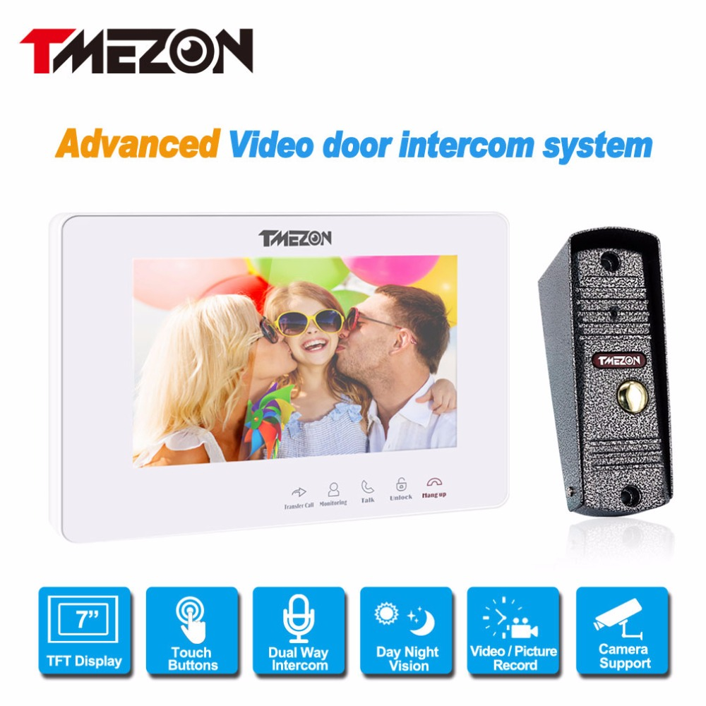 TMEZON 7 Inch TFT Wired Video Door Phone Intercom System with 1x 1200TVL Waterproof Doorbell Camera,Support Auto-IR Night Vision