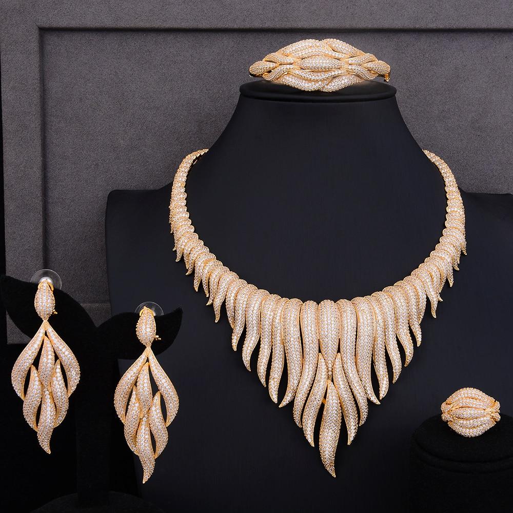 GODKI Super Luxury glacier Tassels 4PCS African Necklace Zircon Jewelry Sets For Women Wedding Indian Nigerian