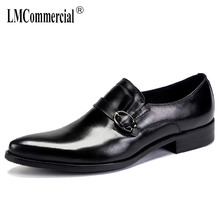 Cowhide breathable mens business real leather shoes British pointy wedding men dress designer high quality