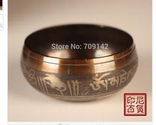 Decoration Brass Diameter  6Inch 150mm Tibetan Buddhism Cuprum Mantra Bronze Buddhism copper singing bowls