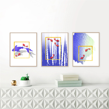 Morden Art Home Decor Canvas Painting Blue Lake Fish Printing Wall Poster for Living Room  DJ93