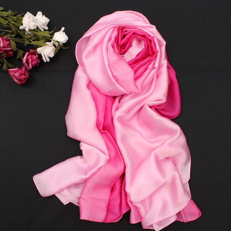 180*110 CM 100% Silk  Bandana Gradient Scarf Women Luxury Hijab Shawl Long Scarves Fashion Summer Beach Scarf Wrap C2