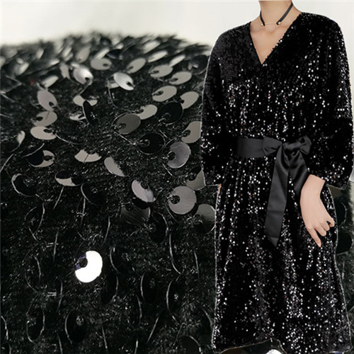 New type of laser Sequin fabric, velvet fabric, bottom embroidery fabric, fish scale flip evening dress, stage fabric