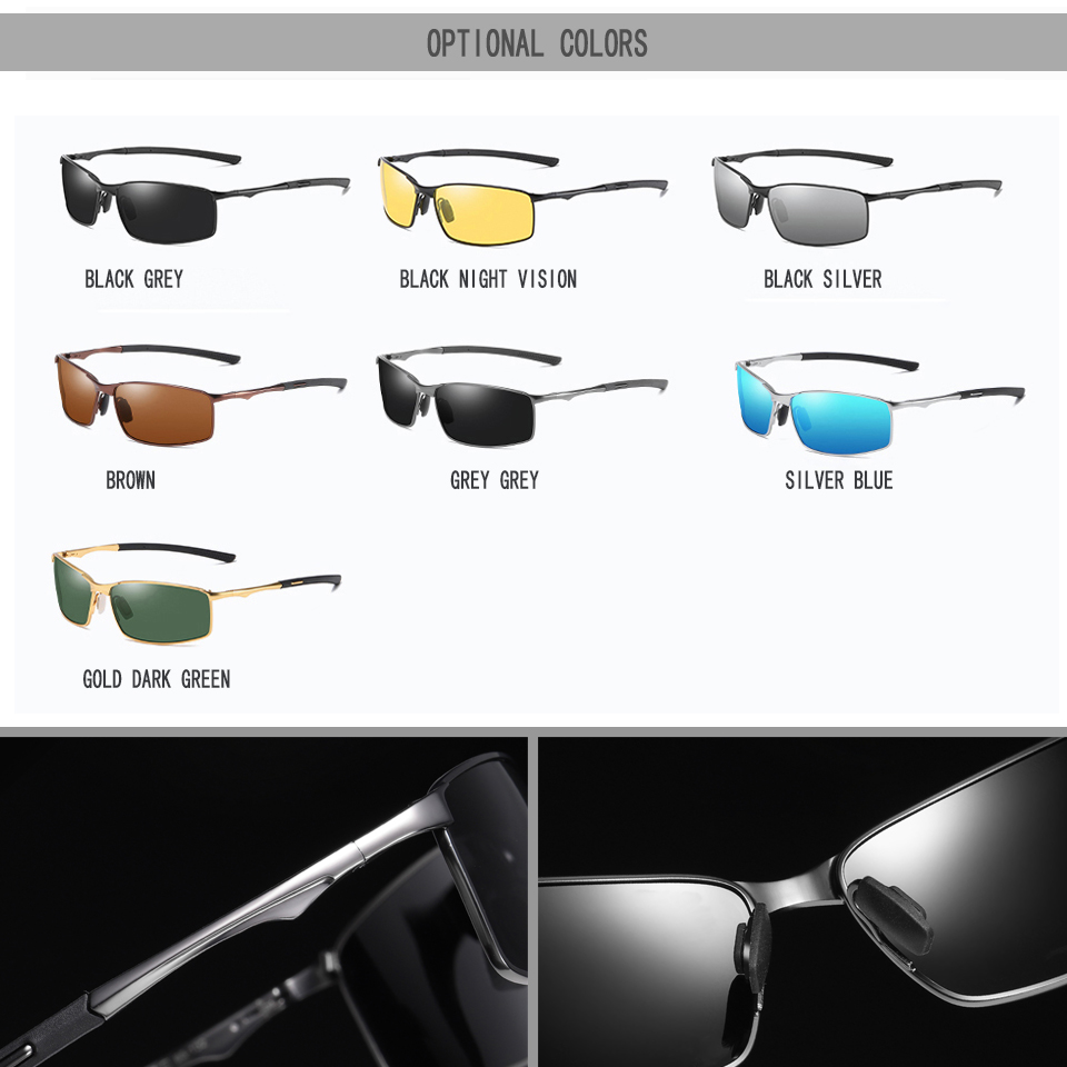 Image 4 - Elitera masculino clássico polarizado óculos de sol liga pernas esportes ao ar livre luz 100% óculos de proteção uvÓculos de sol   -