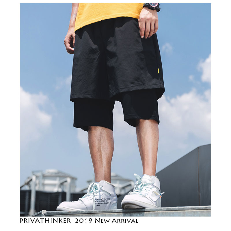 Privathinker Men Oversize Shorts Streetwear 2019 Mens Japanese Shorts Casual Hip Hop Male Black Fake Two Pieces Shorts Summer