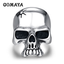 GOMAYA Punk Vintage Trendy Mens Rings For Male Gothic Skull Flower Biker 316L Stainless Steel Bague
