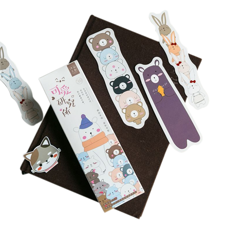 10box lot Cute Cartoon family bookmark set cat bear rabbit book marker paper gift Stationery Office School supplies in Stationery Stickers from Office School Supplies