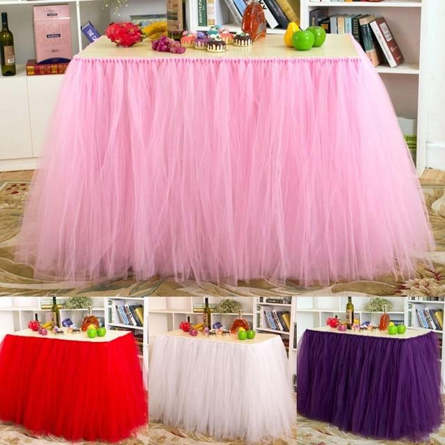 91580cm DIY Tulle Tutu Table Skirt Customize Skirts Birthday Banquet Party Wedding Christmas